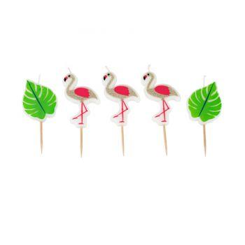 5 Bougies pics flamingo pailleté