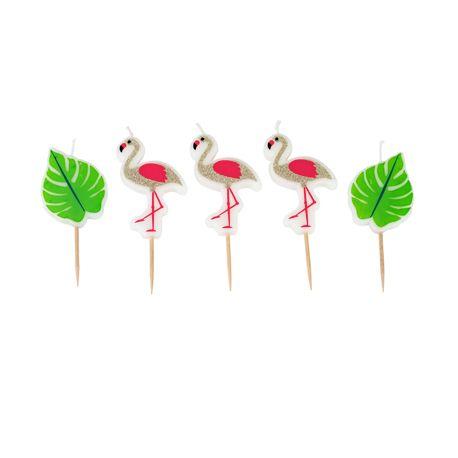 Assortiment de 5 bougies pics pour une décoration de gâteau d'anniversaire sur le thème FlamingoDimensions: 5.5cm x 3.5cm et 4.5cm x...