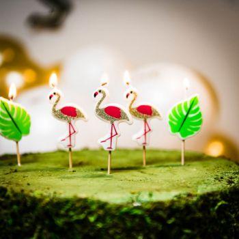 5 Bougies pics flamingo pailleté pour gâteau
