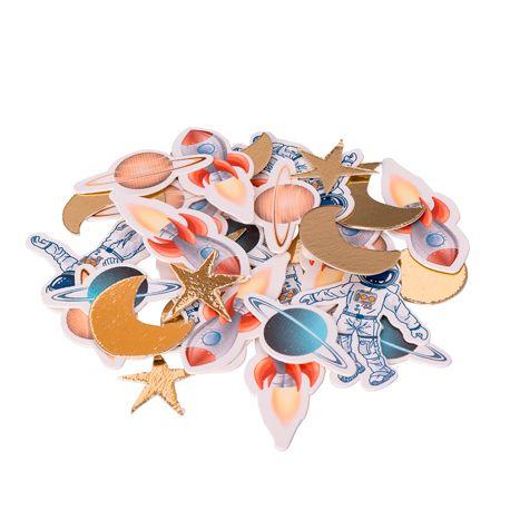 Assortiment de 100 confettis en carton avec dorure pour une décoration de table d'anniversaire sur le thème de l'espaceDimensions :...