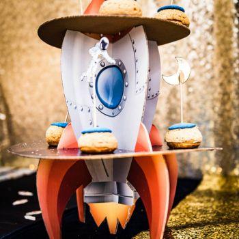 Présentoir à gâteau fusée Space