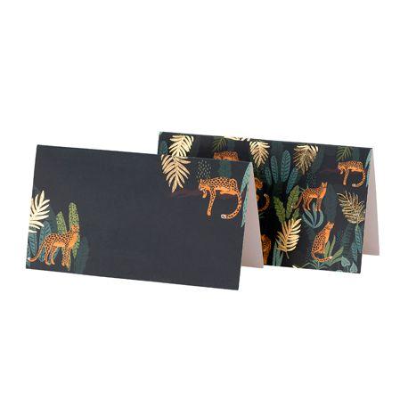 8 Marque places chevalet en carton avec décors feuillage et léopard avec dorure idéal pour une décoration de table tendance sur le thème...