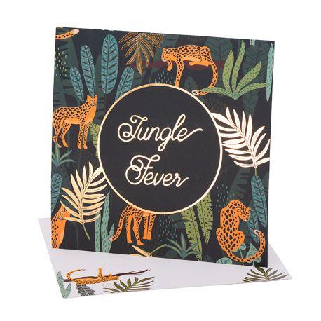 8 invitations léopard et feuillage idéal pour une décoration de fête d'anniversaire sur le thème de la jungleDimensions : 14cm x 14cm
