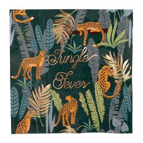 16 serviettes en papier léopard et feuillage idéal pour une décoration de fête d'anniversaire sur le thème de la jungleLe Jungle...