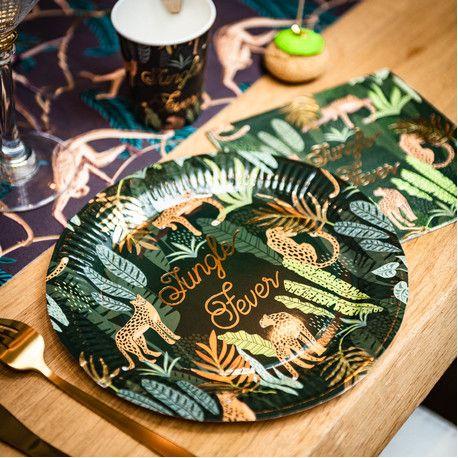8 Assiettes en carton léopard et feuillage idéal pour une décoration de fête d'anniversaire sur le thème de la jungleLe Jungle fever...