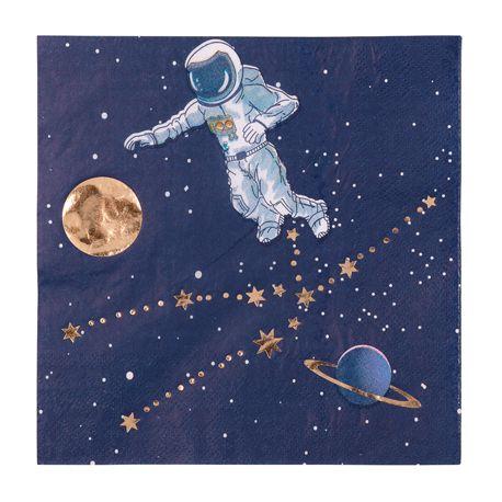 16 serviettes en papier Space idéal pour une décoration de fête d'anniversaire sur le thème de l'espaceLes décors étoiles et...