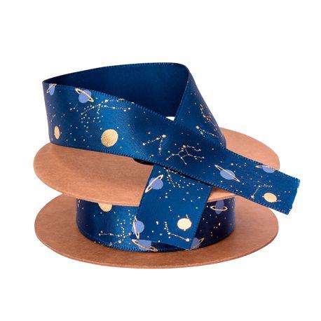 Bobine de ruban satin Space idéal pour une décoration de fête d'anniversaire sur le thème de l'espaceles décors sont en...
