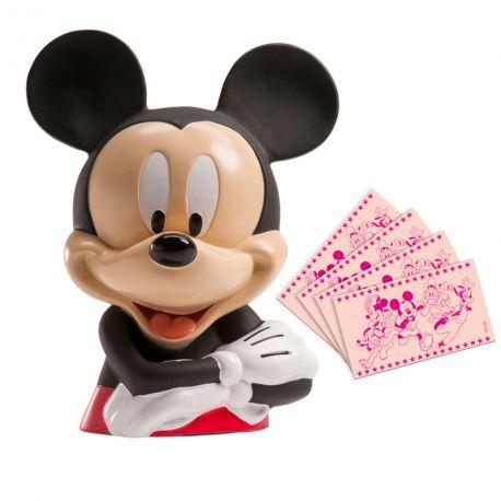 Superbe tirelire en forme de buste de Mickey livré avec des billets comestibles en azymeDimensions : 14cm x 14cm x H19.5cmPoids:...