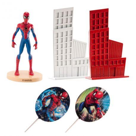 Kit de décoration en plastique pour décorer votre gâteau à l'effigie de Spiderman !Contient: 2 pics deco Spiderman + 1 figurine...