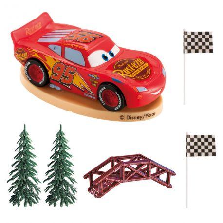 Kit de décoration en plastique pour décorer votre gâteau à l'effigie de Cars !Contient: 2 pics deco Cars + 1 figurine Cars + 2...