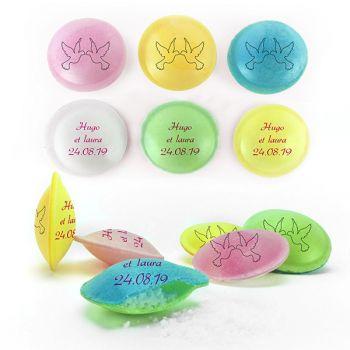 Bonbons personnalisés soucoupes acides décor Colombe.