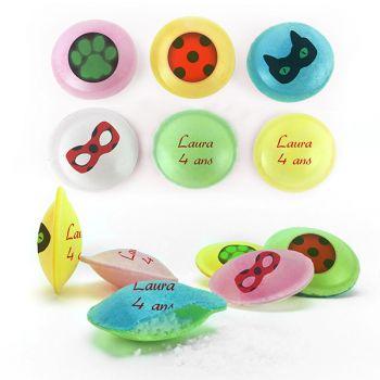 Bonbons personnalisés soucoupes acides décor Lady Bug.