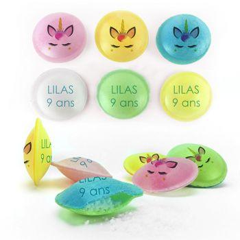 Bonbons personnalisés soucoupes acides décor Tête de Licorne.