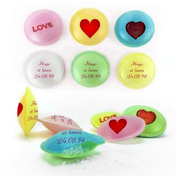 Bonbons personnalisés soucoupes acides décor Amour.