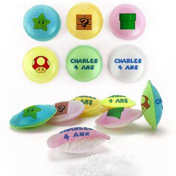 Bonbons personnalisés soucoupes acides décor Mario Bross.