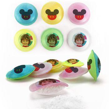 Bonbons personnalisés soucoupes acides décor Mickey.