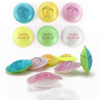 Bonbons personnalisés soucoupes acides décor Petons.