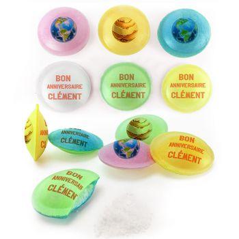 Bonbons personnalisés soucoupes acides décor Planète.