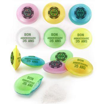 Bonbons personnalisés soucoupes acides décor Poker.