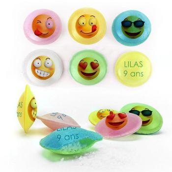Bonbons personnalisés soucoupes acides décor Smiley.