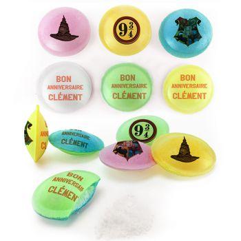 Bonbons personnalisés soucoupes acides décor Harry potter.