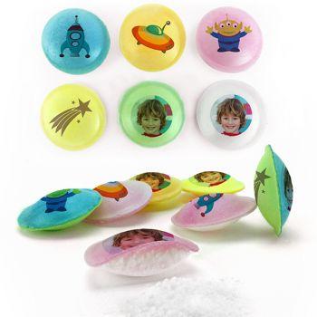 Bonbons personnalisés soucoupes acides décor Space.