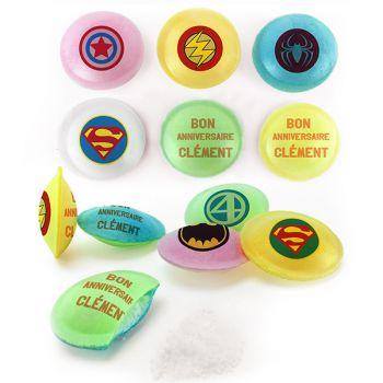 Bonbons personnalisés soucoupes acides décor Super Heros.