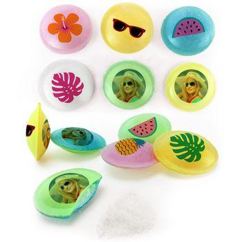 Bonbons personnalisés soucoupes acides décor Tropical.