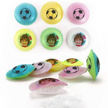 Bonbons personnalisés soucoupes acides décor foot.