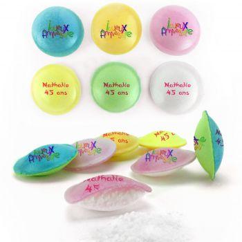Bonbons personnalisés soucoupes acides décor Joyeux Anniversaire.