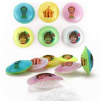 Bonbons personnalisés soucoupes acides décor Cirque.