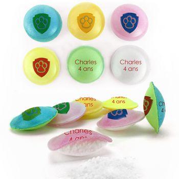 Bonbons personnalisés soucoupes acides Texte.