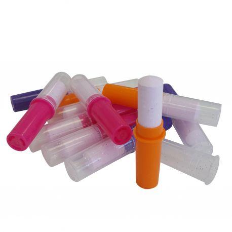 Assortiment de 10 tubes de rouges à lèvres en bonbons dextrose idéal pour les candy bar ou table d'anniversaire Le bouchon est pailleté