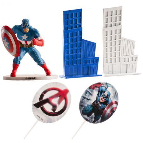 Kit de décoration en plastique pour décorer votre gâteau à l'effigie de Avengers Captain AmericaContient: 2 pics deco Captain...