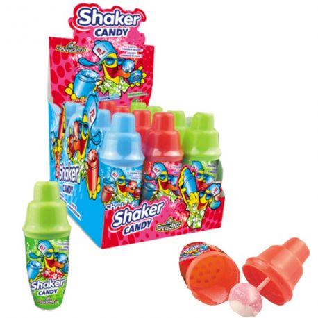 Shaker Candy, un shaker rempli de poudre et d'une sucette à secouer afin de d'obtenir un cocktail de saveurs 3 goûts assortis :...