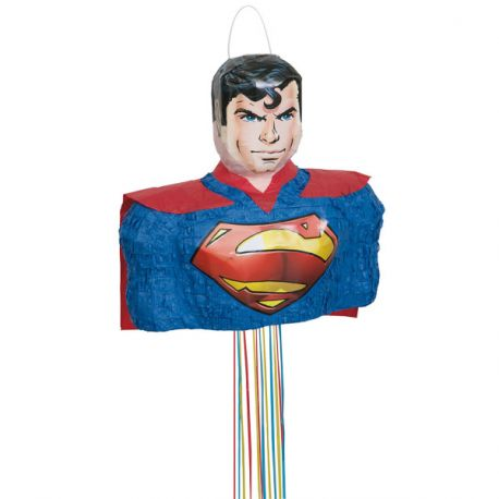 Pinata à fil en forme de buste de SuperMan à remplir de bonbons et de jouets pour l'anniversaire de votre enfant.Qui tirera le fil...