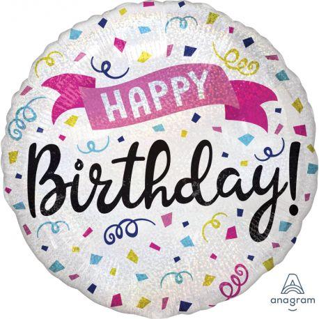 Ballon rond à gonfler à l'hélium décor happy birthday effet holographique idéal pour la décoration d'une belle fête...