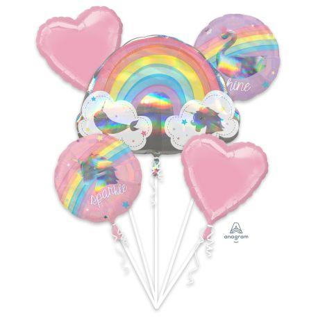 Superbe bouquet de ballons en aluminium à gonfler à l'hélium décor Magical rainbow idéal pour la décoration d'une belle fête...