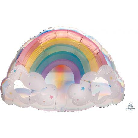 Superbe ballon en aluminium à gonfler à l'hélium en forme d'Arc en ciel Magical rainbow idéal pour la décoration d'une belle fête...