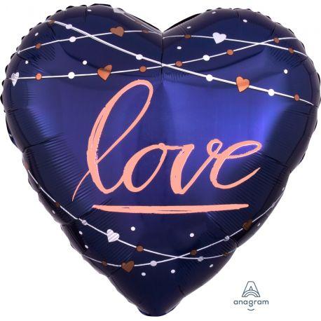 Superbe ballon en aluminium coeur love à gonfler à l'hélium idéal pour la décoration d'un mariagePeut être gonflé sans hélium à...