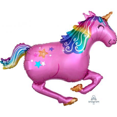 Ballon à gonfler à l'hélium en forme de Licorne de couleur rose au galop pour une décoration d'anniversaire réussi !Peut être gonflé...