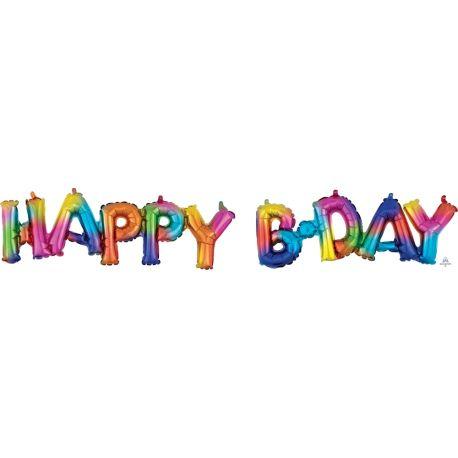 2 Ballons aluminium en forme de HAPPY B.DAY pouvant être gonflé uniquement à l'air à l'aide d'une paille ou d'une petite...