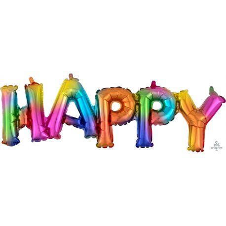 Ballon aluminium en forme de HAPPY pouvant être gonflé uniquement à l'air à l'aide d'une paille ou d'une petite pompeCouleur...