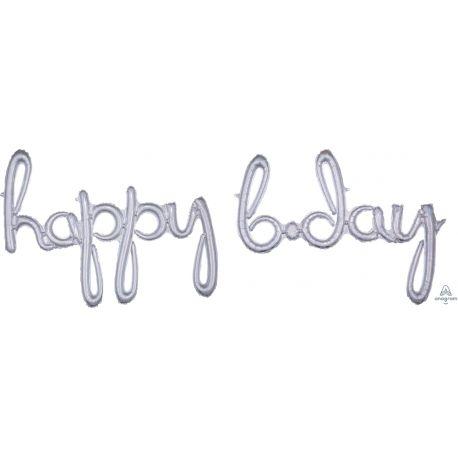Ballon en aluminium en forme de happy b.day de couleur argent holographique pour la décoration d'une fête d'anniversaireSe gonfle...