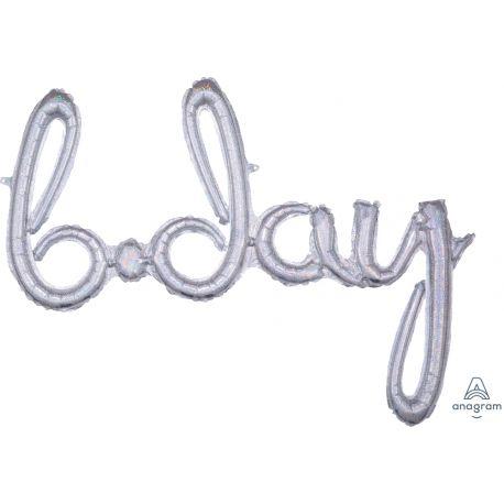 Ballon en aluminium en forme de b.day script de couleur argent holographique pour la décoration d'une fête d'anniversaireSe gonfle...