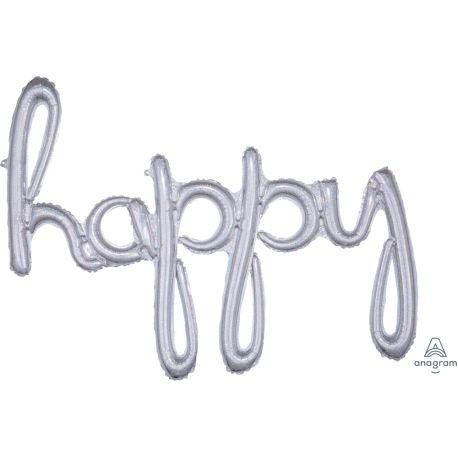 Ballon en aluminium en forme de happy script de couleur argent holographique pour la décoration d'une fête d'anniversaireSe gonfle...