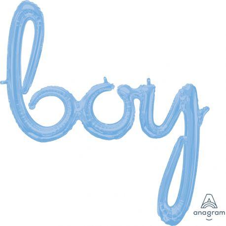 Ballon en aluminium en forme de boy script de couleur bleu pour la décoration d'une baby showerDimensions : 81cm x 73cm