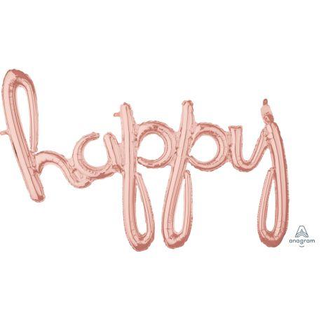 Ballon en aluminium en forme de happy script de couleur gold rose pour la décoration d'une fête d'anniversaireSe gonfle uniquement à...