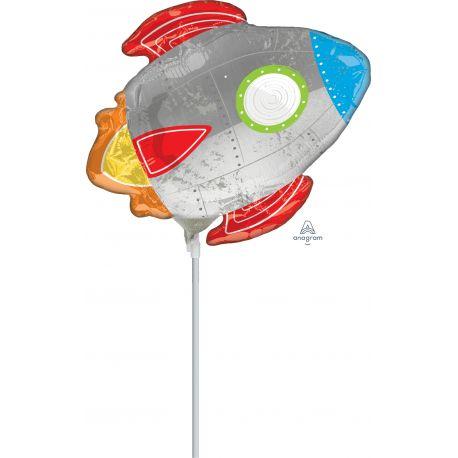 Mini ballon gonflé à l'effigie d'une fusée pour offrir aux enfants qui participent à la fête d'anniversaireLivré gonflé sur...