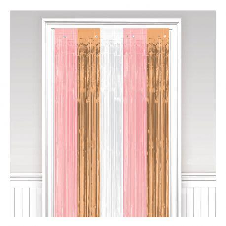 Rideau de fil en papier gold rose, rose et blanc pour une belle décoration de fêteDimension: 243cm x 91.4cm